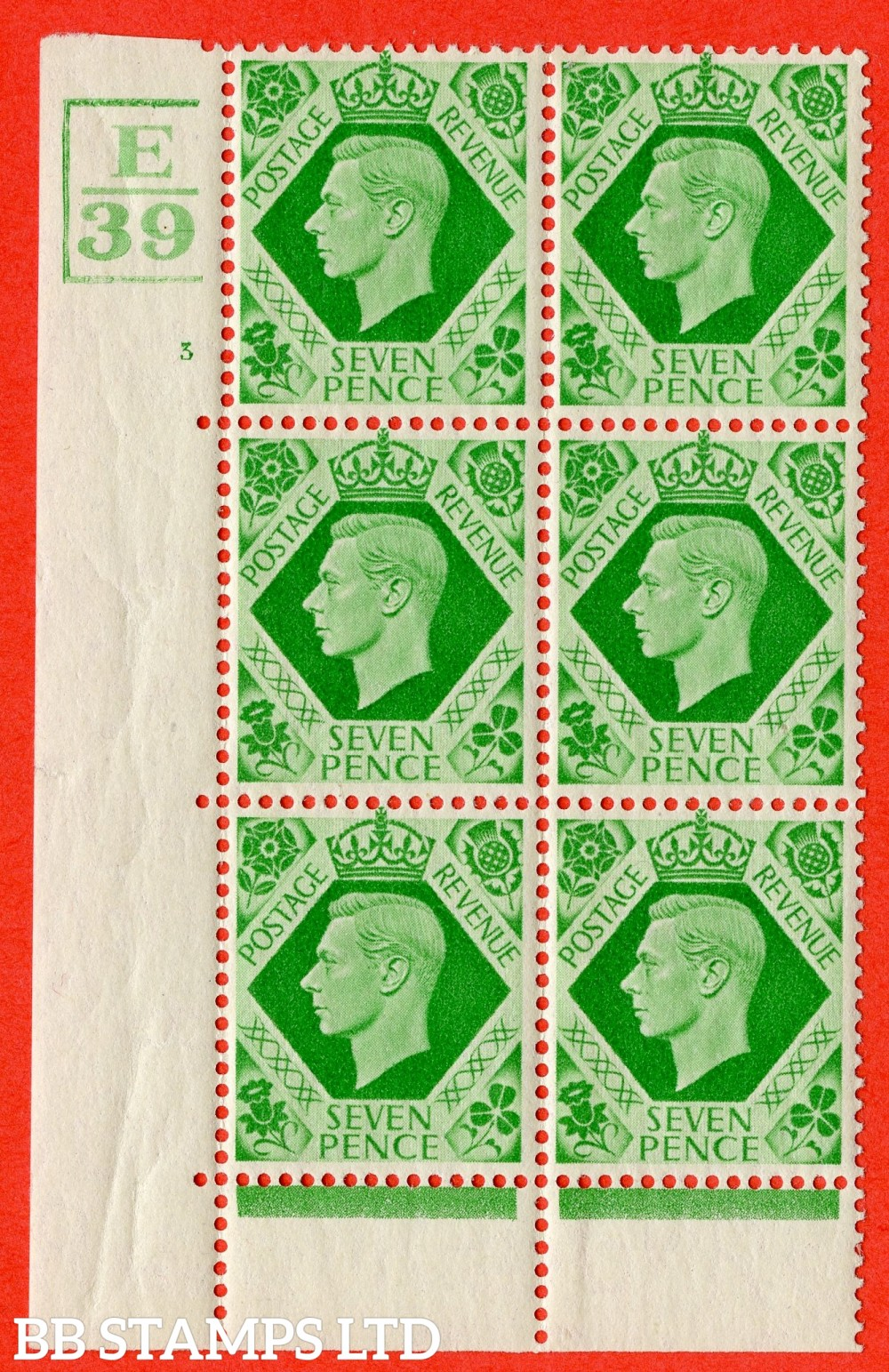 """SG. 471. Q23. 7d Emerald-Green. A superb UNMOUNTED MINT """" Control E39 3 Bars. Cylinder 3 no dot """" control block of 6 with perf type 6B E/P."""