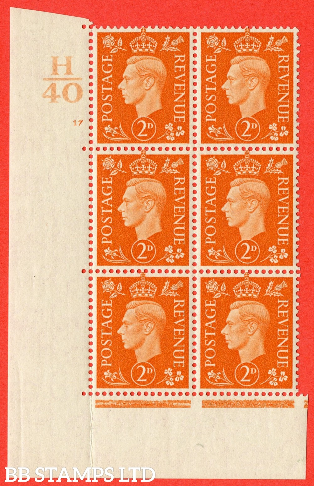 "SG. 465. Q10. 2d Orange. A superb UNMOUNTED MINT "" Control H40 cylinder 17 no dot "" control block of 6 with perf type 5 E/I."