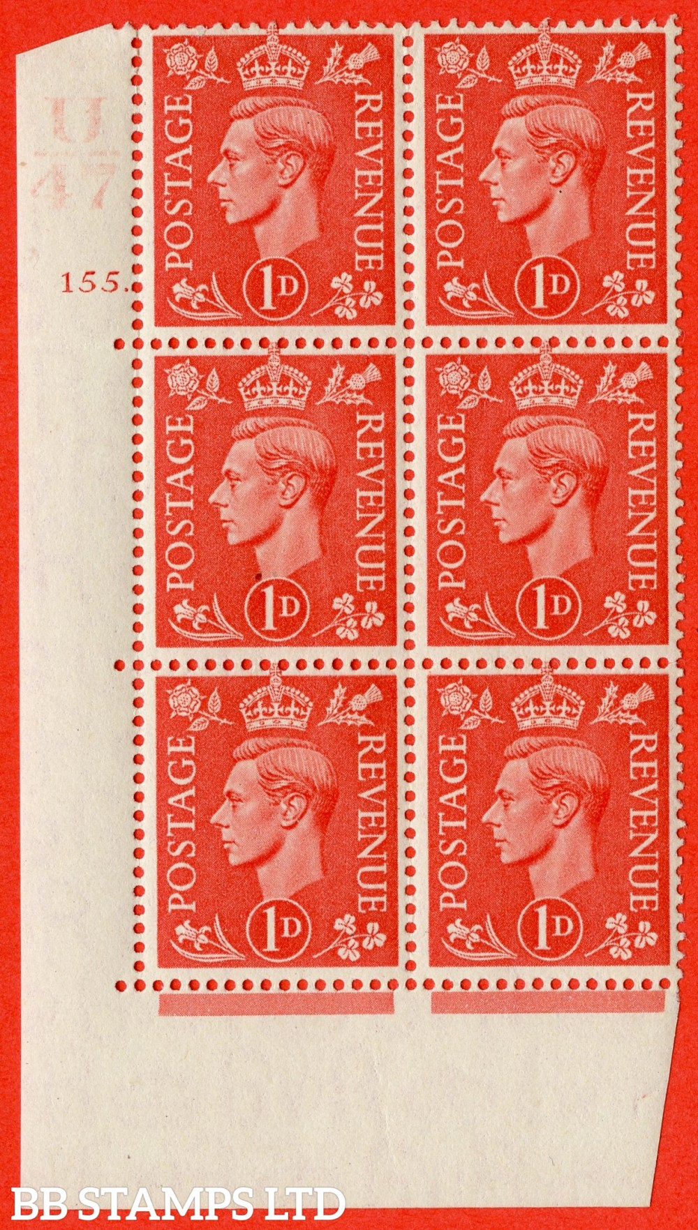 "SG. 486. Q5. 1d Pale scarlet. A superb UNMOUNTED MINT "" Control U47  cylinder 155 dot "" control block of 6 with perf type 5 E/I."