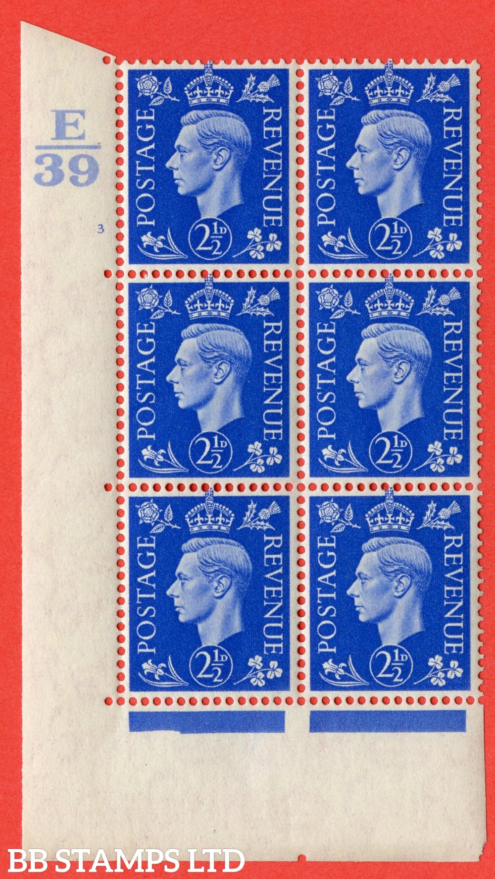 "SG. 466. Q13. 2½d Ultramarine. A superb UNMOUNTED MINT "" Control E39 cylinder 3 no dot "" control block of 6 with perf type 5 E/I."