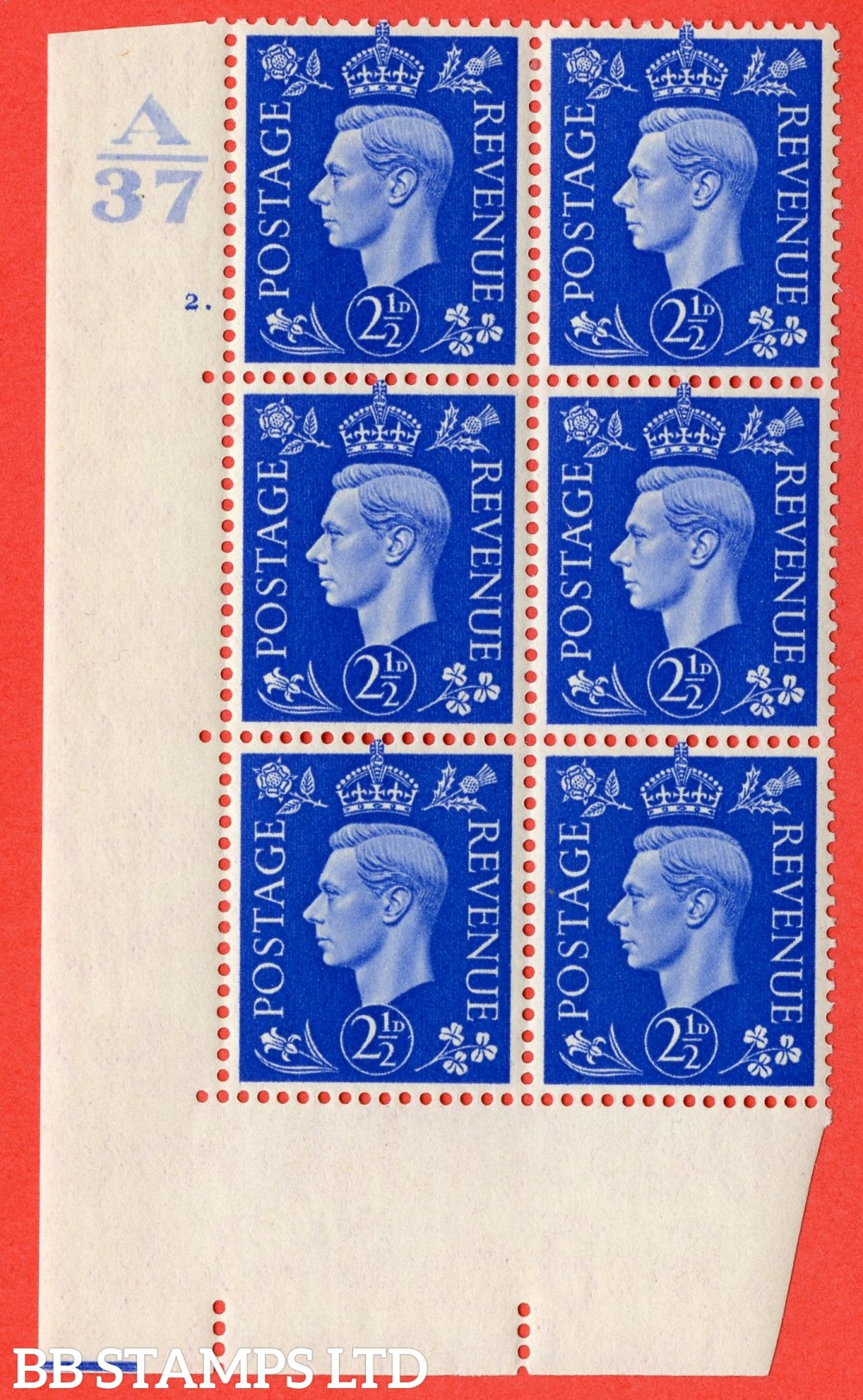 "SG. 466. Q13. 2½d Ultramarine.  A fine lightly mounted mint "" Control A37 cylinder 2 dot "" control block of 6 with perf type 5 E/I."