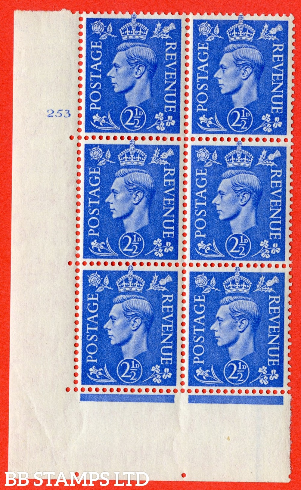"SG. 489. Q14. 2½d Light ultramarine. A superb UNMOUNTED MINT "" No Control  cylinder 253 no dot "" control block of 6 with perf type 5 E/I."
