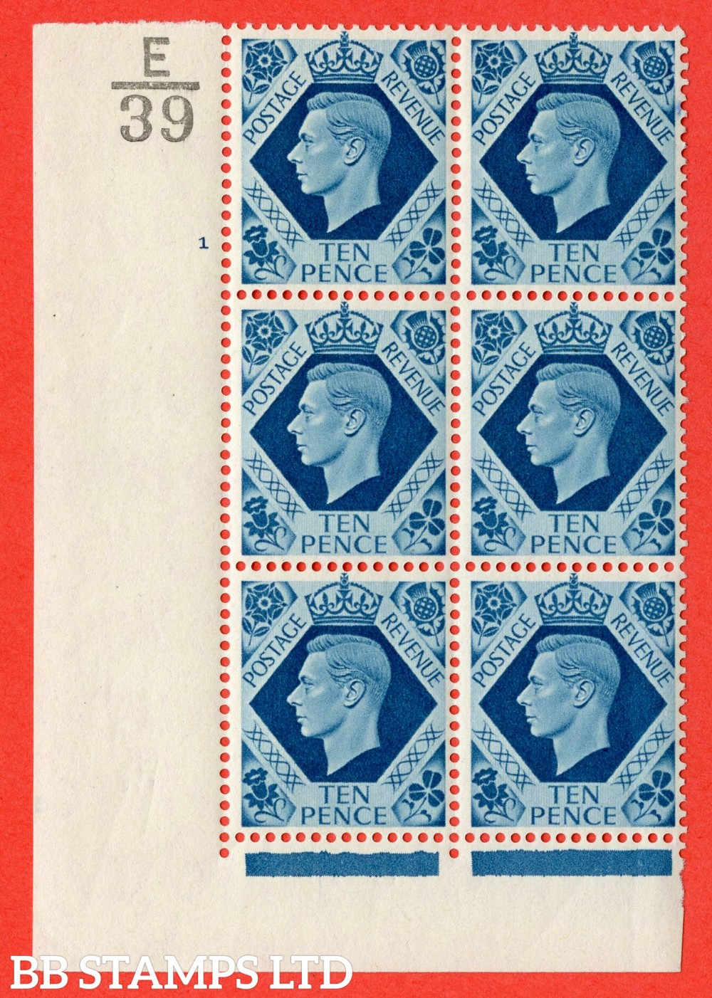 "SG. 474. Q26. 10d Turquoise-Blue. A fine lightly mounted mint "" Control E39 cylinder 1 no dot "" control block of 6 with perf type 2 I/E."