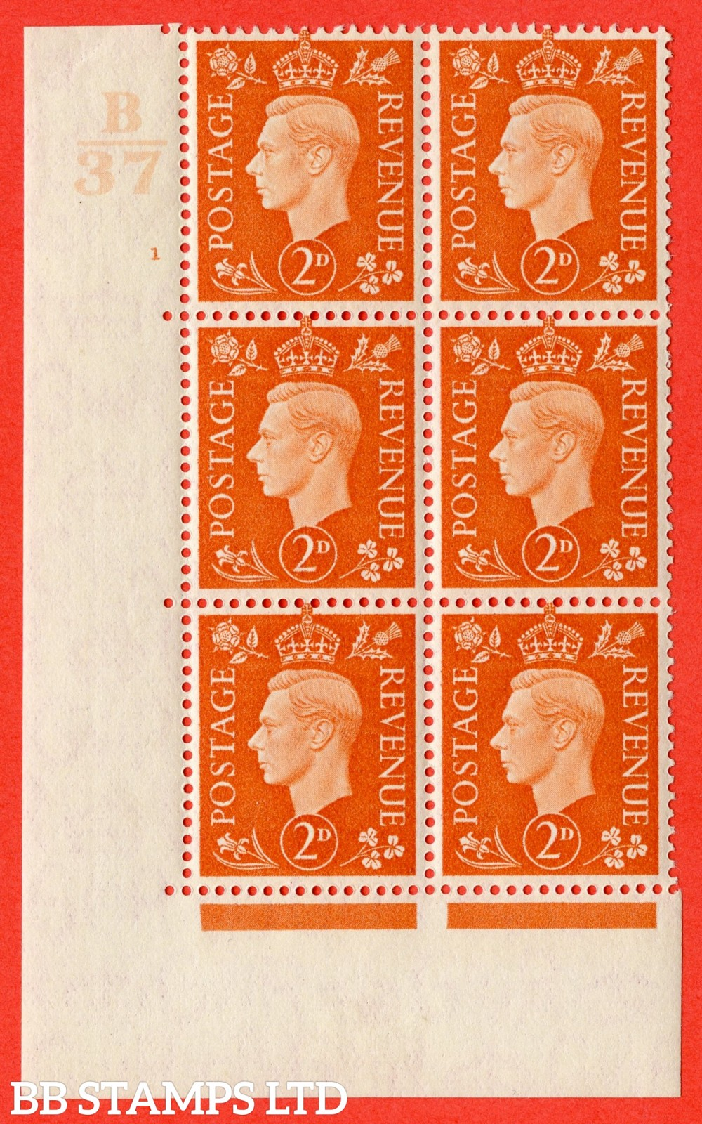 "SG. 465. Q10. 2d Orange. A fine lightly mounted mint "" Control B37 cylinder 1 no dot "" control block of 6 with perf type 5 E/I."