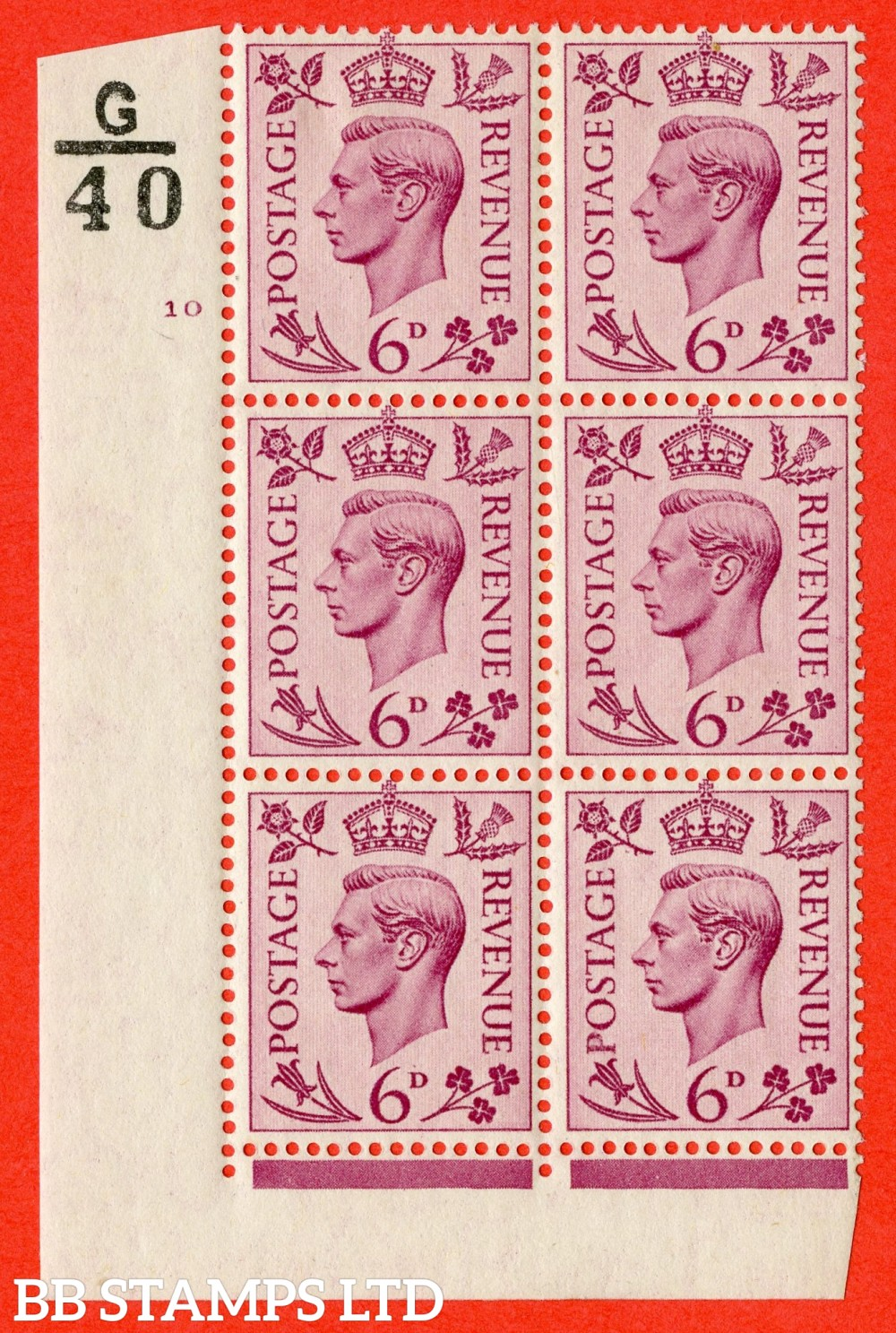 """SG. 470. Q22. 6d Purple. A fijne lightly mounted mint """" Control G40 cylinder 10 no dot """" control block of 6 with perf type 2 E/I."""
