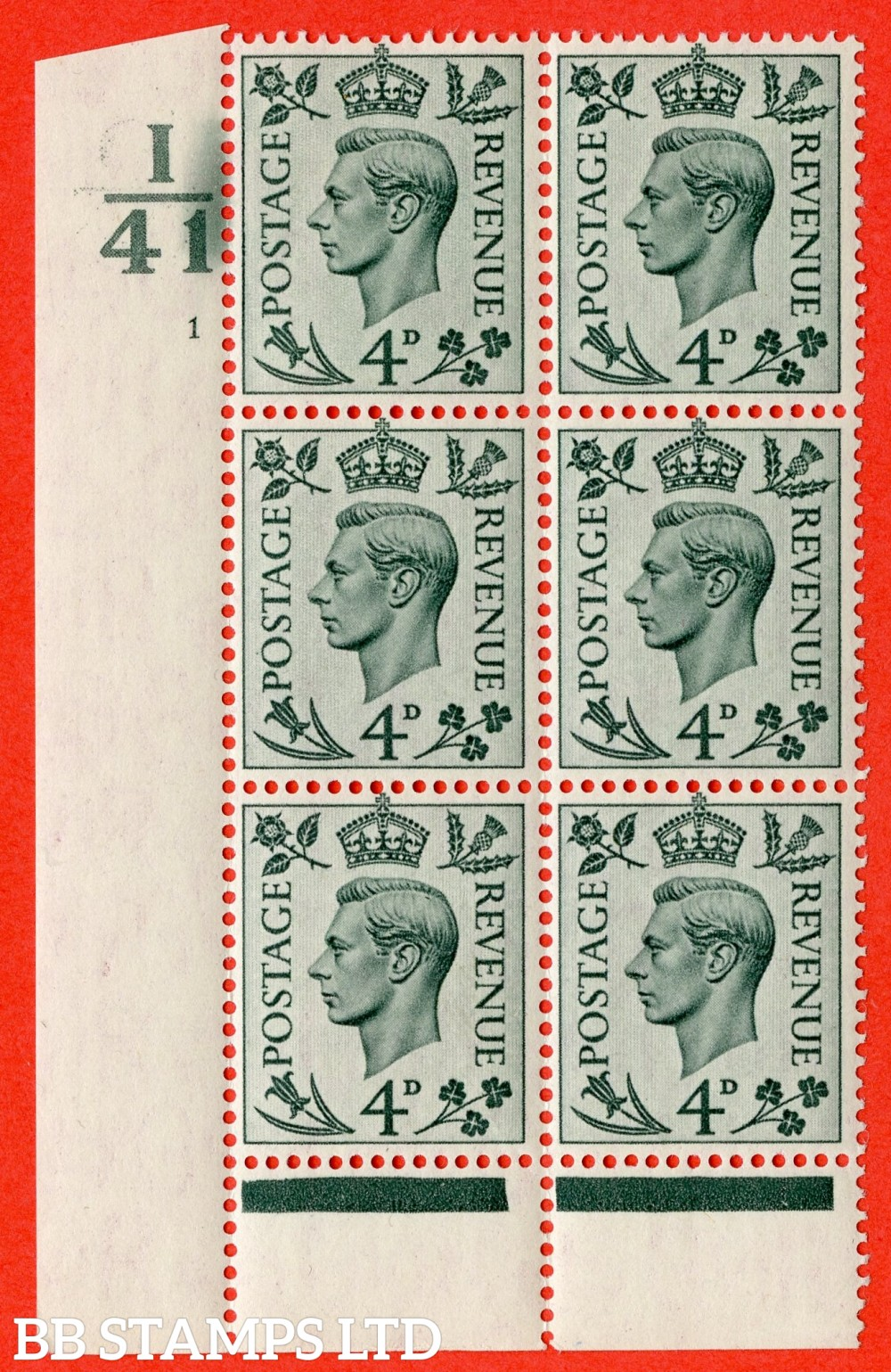 """SG. 468. Q19. 4d Grey-Green. A fine lightly mounted mint. """" Control I41.  Cylinder 1 no dot """" control block of 6 with perf type 6 I/P."""