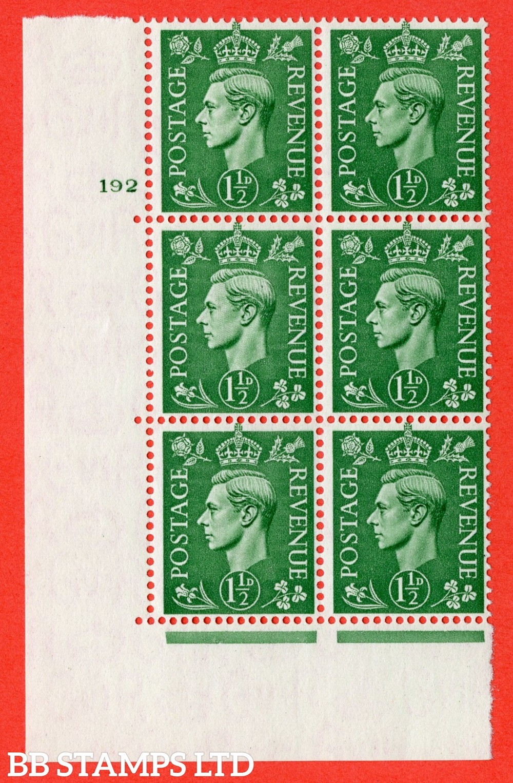 "SG. 505. Q9. 1½d Pale Green. A superb UNMOUNTED MINT "" No Control cylinder 192 no dot "" control block of 6 with perf type 5 E/I. with listed variety "" Retouched forehead "" R19/1."