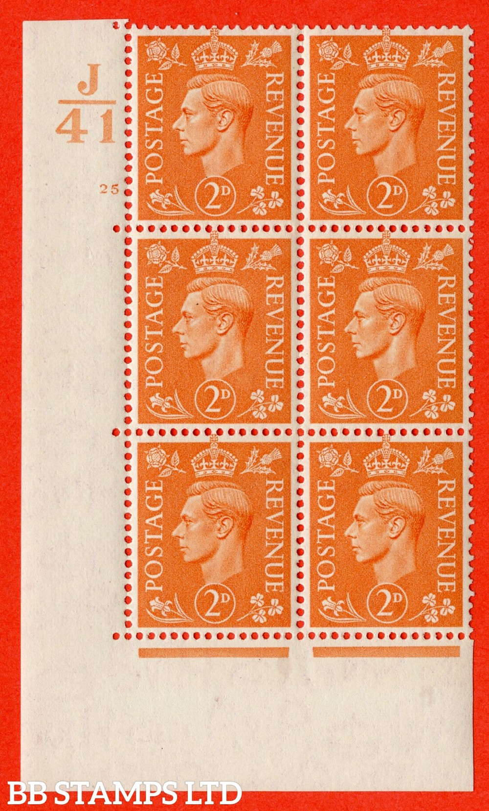 """SG. 488. Q11. 2d Pale Orange. A superb UNMOUNTED MINT """" Control J41 cylinder 25 no dot """" control block of 6 with perf type 5 E/I."""