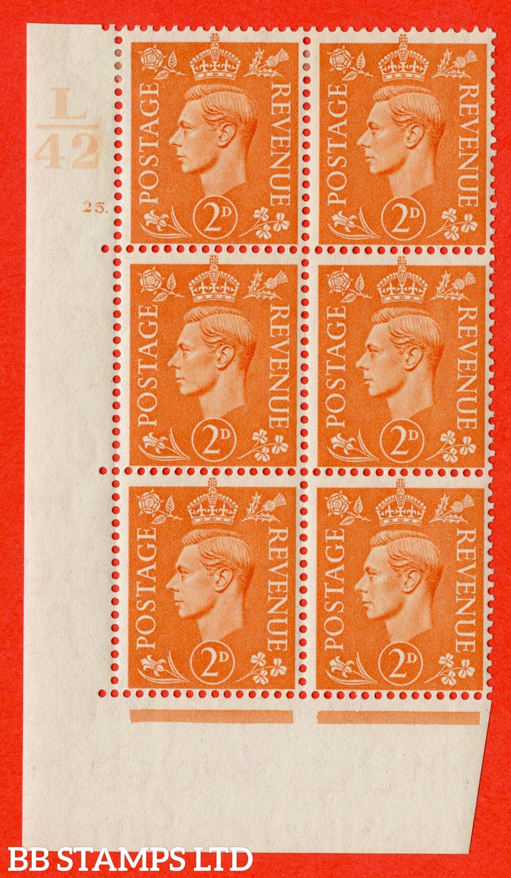 "SG. 488. Q11. 2d Pale Orange. A fine lightly mounted mint "" Control L42 cylinder 25 dot "" control block of 6 with perf type5 E/I."