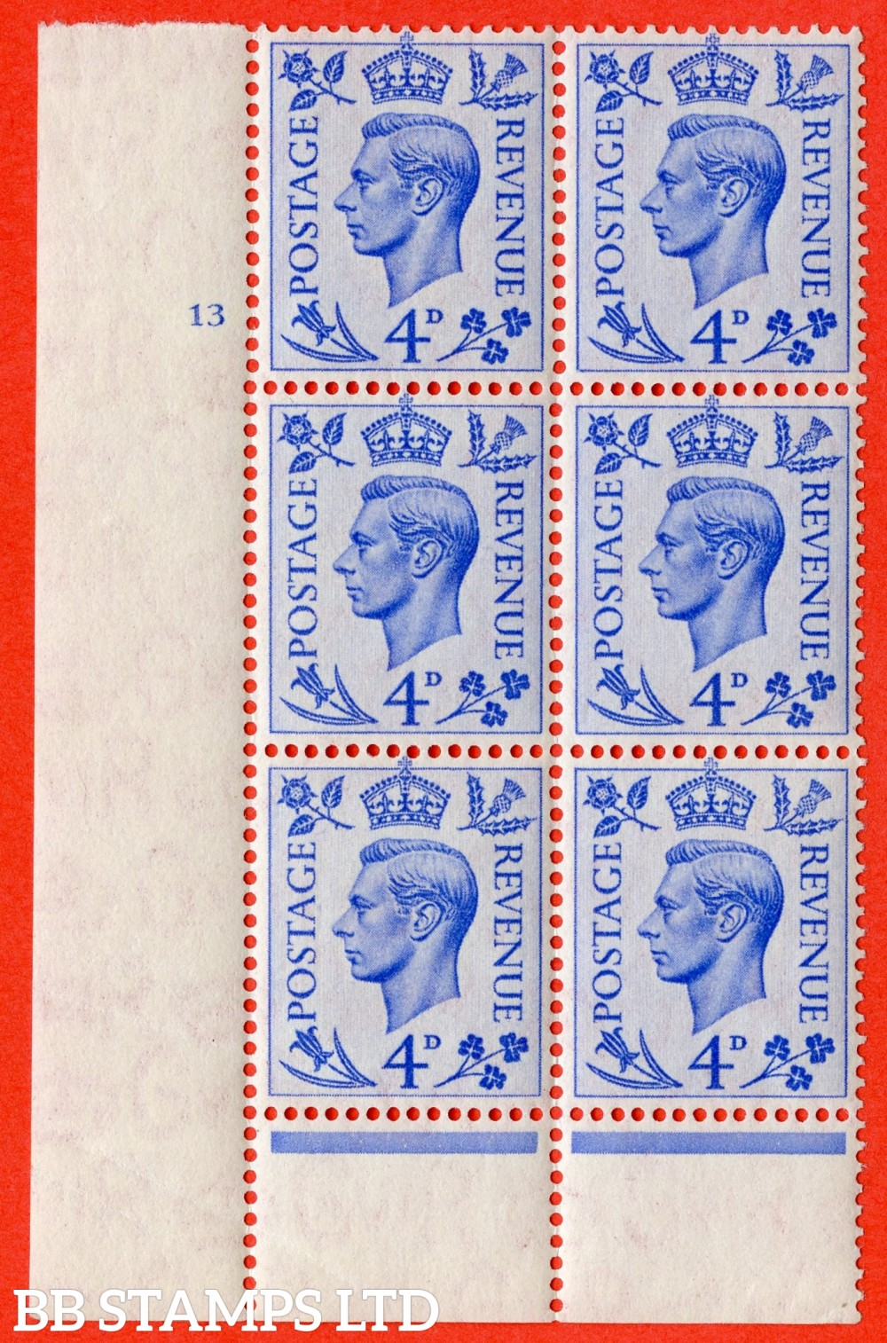 "SG. 508. Q20. 4d Light-Ultramarine. A superb UNMOUNTED MINT. "" No Control cylinder 13 no dot "" control block of 6 with perf type 6 I/P."
