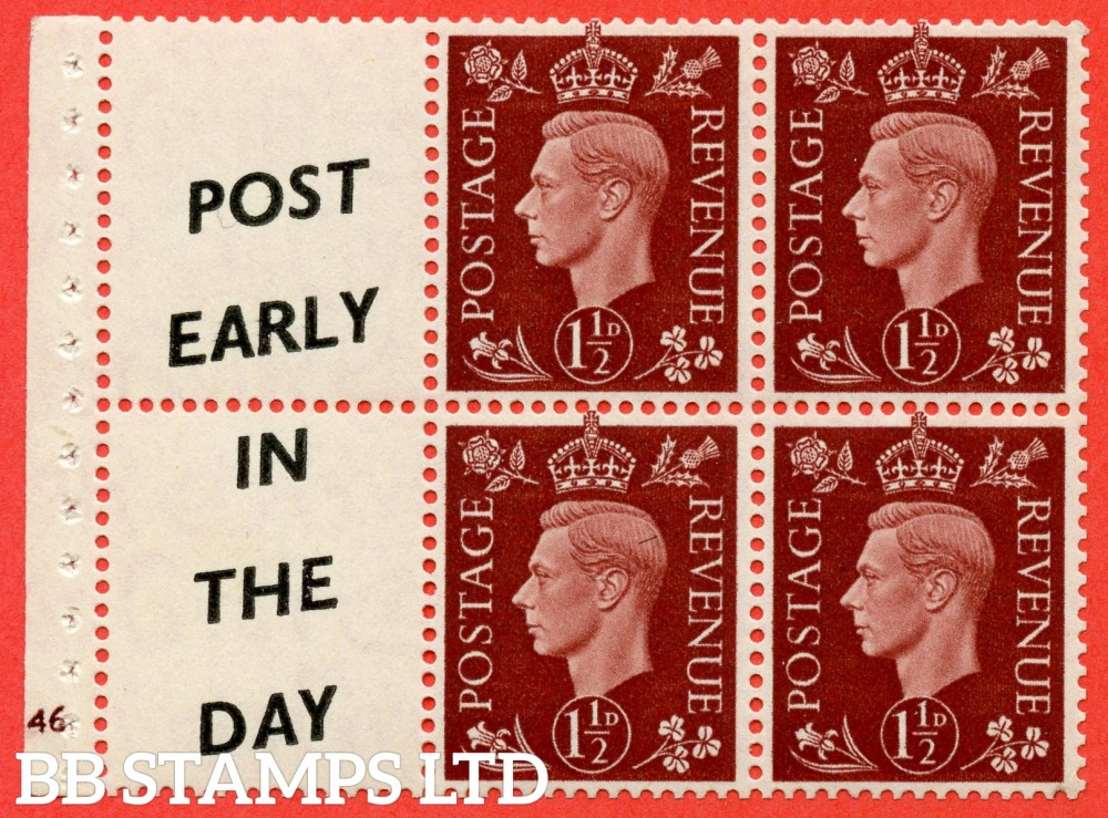 "SG. 464 b. QB23 (14). 1½d Red - Brown.  A fine UNMOUNTED MINT complete cylinder "" G46 "" booklet pane with selvedge. Perf type (I)."
