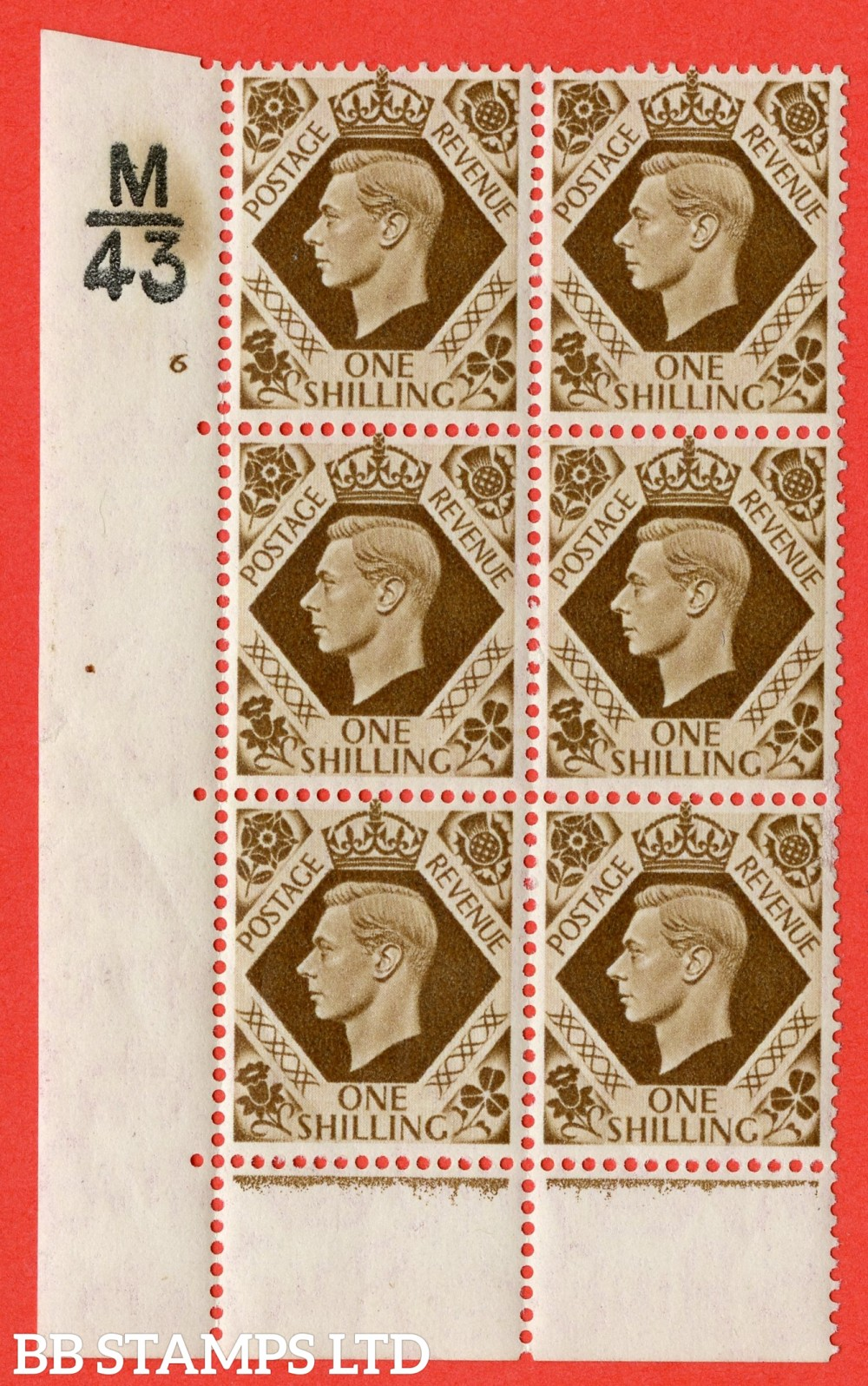 "SG. 475. Q28. 1/- Bistre-Brown. A Superb UNMOUNTED MINT "" Control  M43 cylinder 6 no dot "" control block of 6 with perf type 6B E/P"