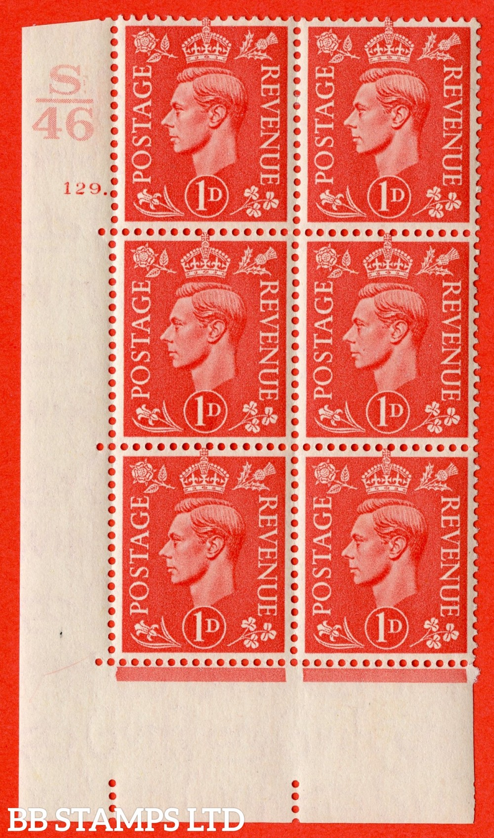 "SG. 486. Q5. 1d Pale scarlet. A superb UNMOUNTED MINT "" Control S46  cylinder 129 dot "" control block of 6 with perf type 5 E/I."