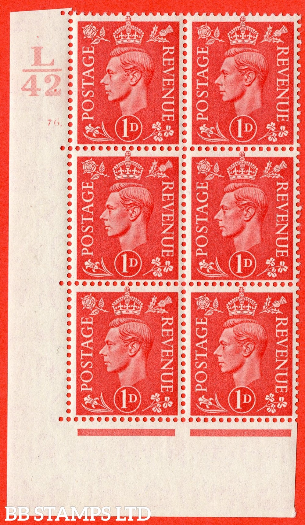 "SG. 486. Q5. 1d Pale scarlet. Asuperb UNMOUNTED MINT "" Control L42  cylinder 76 dot "" control block of 6 with perf type 5 E/I."