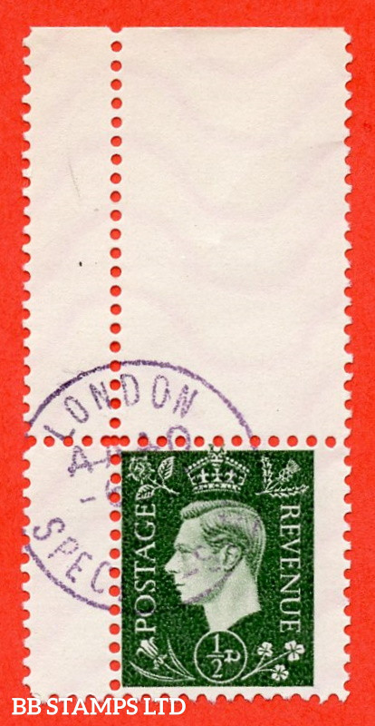 """SG. 462. ½d Green. """" GERMAN PROPAGANDA FORGERY """". A superb used corner marginal example of this famous wartime forgery produced at the Sachsenhausen Concentration Camp."""