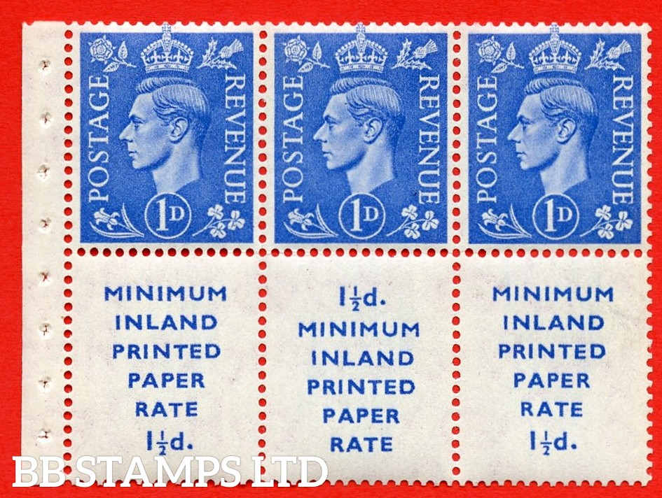 """SG. 504d. QB18. 1d ultramarine. A fine UNMOUNTED MINT example with """" MINIMUM INLAND PRINTED PAPER RATE """" 17 mm high. Perf type """" Iet """". Good Perf."""