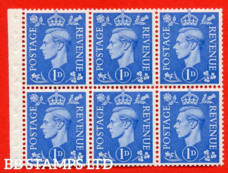 """SG. 504f. QB15. 1d ultramarine. Type 1c. A fine MOUNTED MINT complete booklet pane of 6. Perf type """" I """". Good Perfs."""