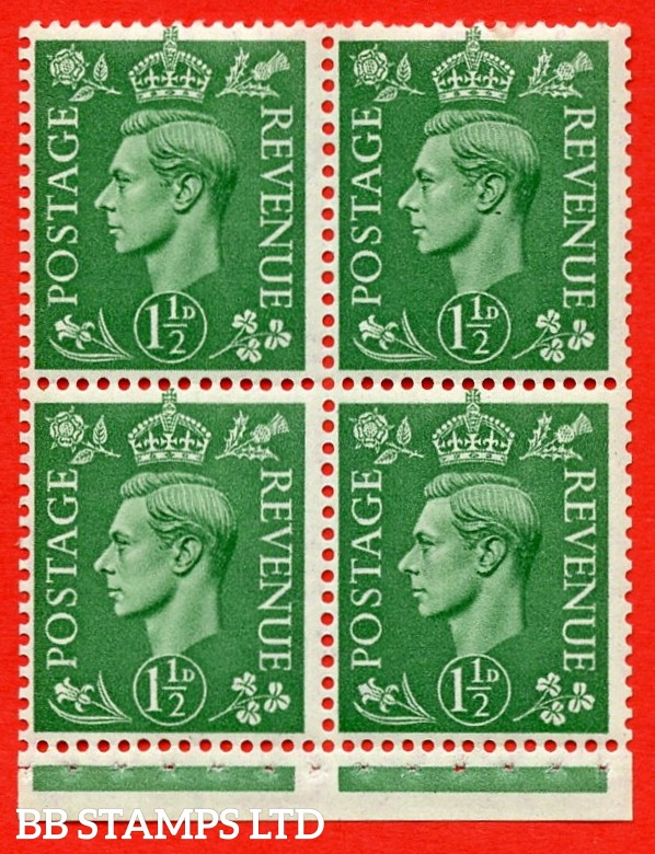 """SG. 505c. QB27a. 1½d pale green. A superb UNMOUNTED MINT complete booklet pane. Perf type """" I """". Good Perfs."""