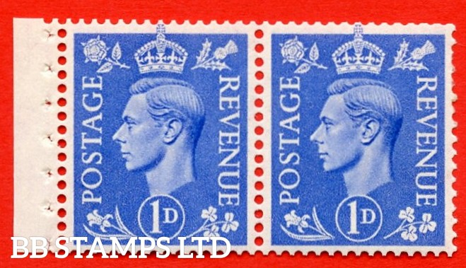"""SG. 504. QB17. 1d ultramarine. A fine UNMOUNTED MINT complete booklet pane of 2. Perf type """" E  """". Trimmed Perfs."""