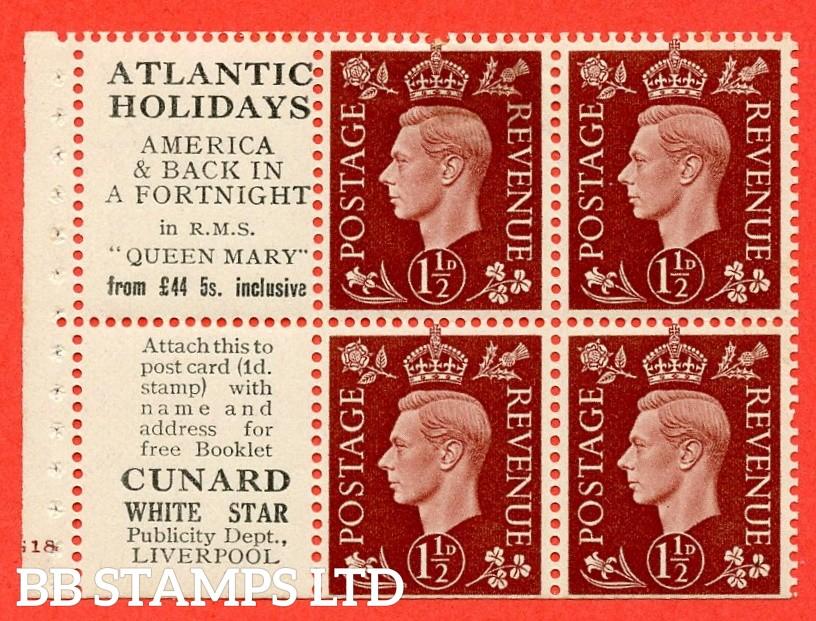 "QB23 Perf Type B4(E) (13) 1½d Red-Brown x 6 Pane, MOUNTED MINT. Cylinder Pane G18 no  dot ( SG. 464b ) Perf type B4(E). "" Atlantic Holidays / Cunard White star  "". Trimmed Perfs."