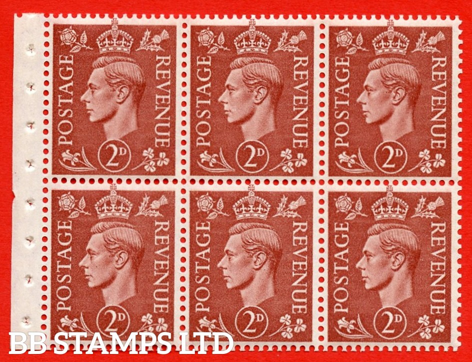 """SG. 506d. QB31. 2d pale red brown. A superb UNMOUNTED MINT complete booklet pane. Perf type """" Iet """". Good Perfs."""