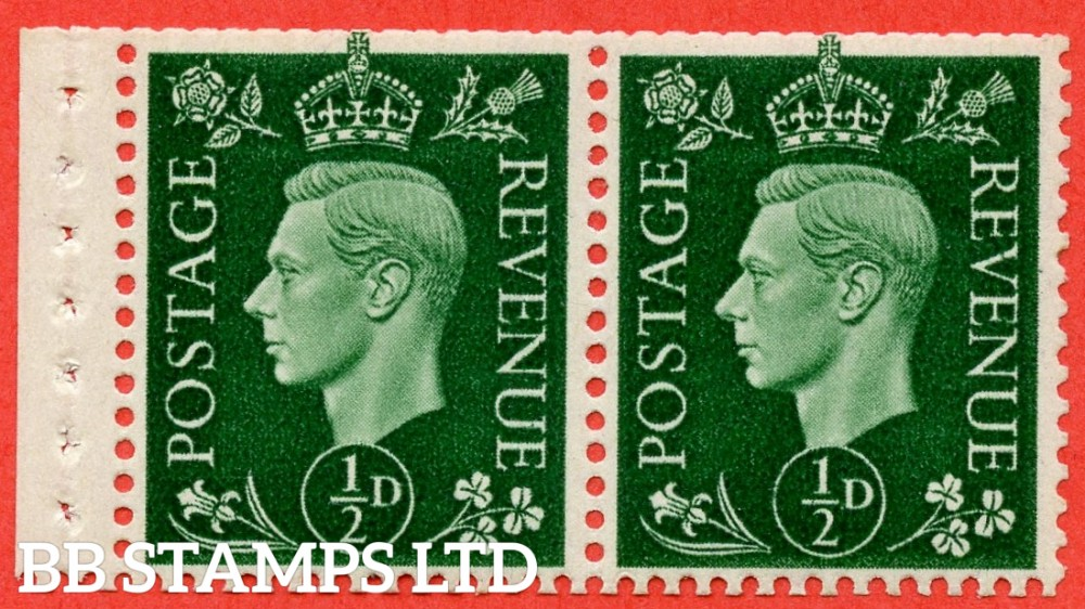 SG. 462 c. QB3. ½d Green. A fine UNMOUNTED MINT complete booklet pane. Perf type ' P '. Complete with RPS certificate.