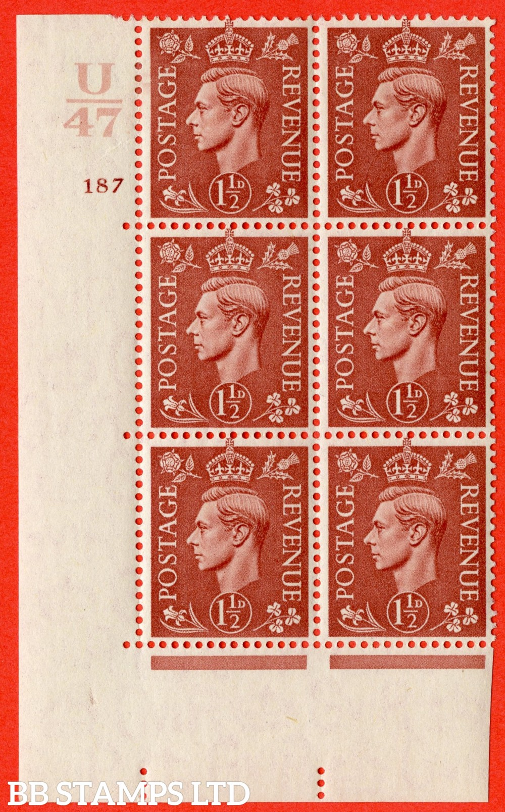 "SG. 487. Q8. 1½d Pale Red-Brown. A fine lightly mounted mint "" Control U47 cylinder 187 no dot "" control block of 6 with perf type 5 E/I."