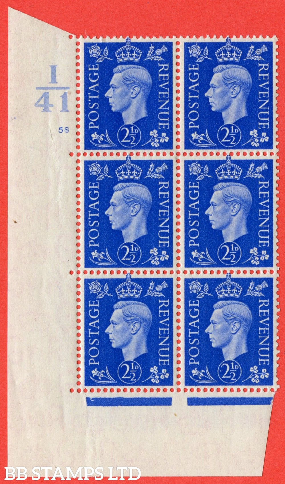 """SG. 466. d. Q13. 2½d Ultramarine.  A superb UNMOUNTED MINT """" Control I41 cylinder 58 no dot """" control block of 6 with perf type 5 E/I."""