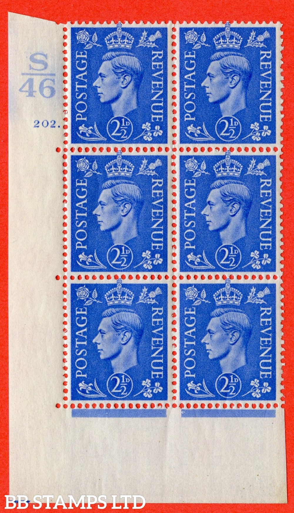 "SG. 489. Q14. 2½d Light ultramarine. A superb UNMOUNTED MINT "" Control S46 cylinder 202 dot "" control block of 6 with perf type 5 E/I."