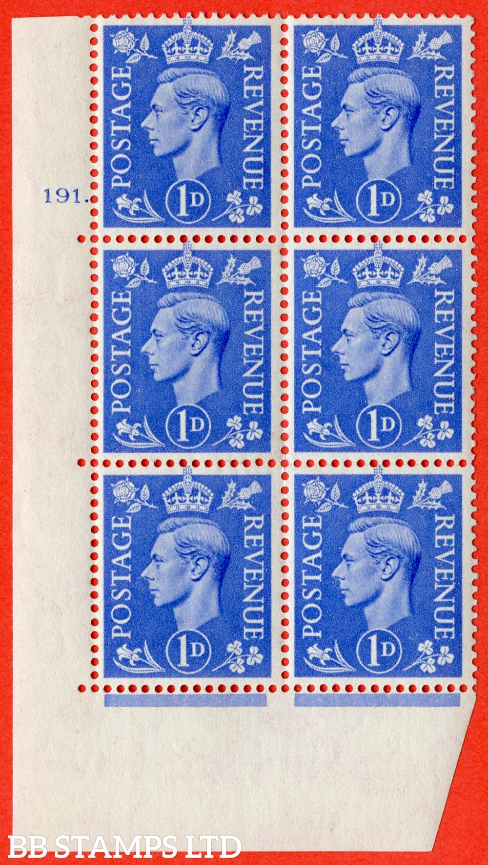 "SG. 504. Q6. 1d Light ultramarine. A superb UNMOUNTED MINT "" No Control cylinder 191 dot "" control block of 6 with perf type 5 E/I"