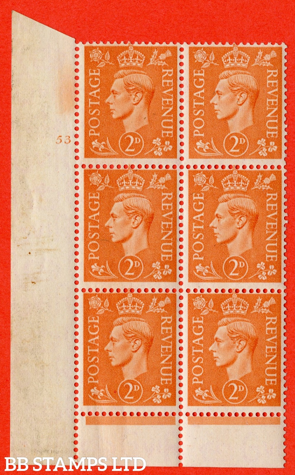"""SG. 488. Q11. 2d Pale Orange. A superb UNMOUNTED MINT """" No Control cylinder 53 no dot """" control block of 6 with perf type 6 I/P."""