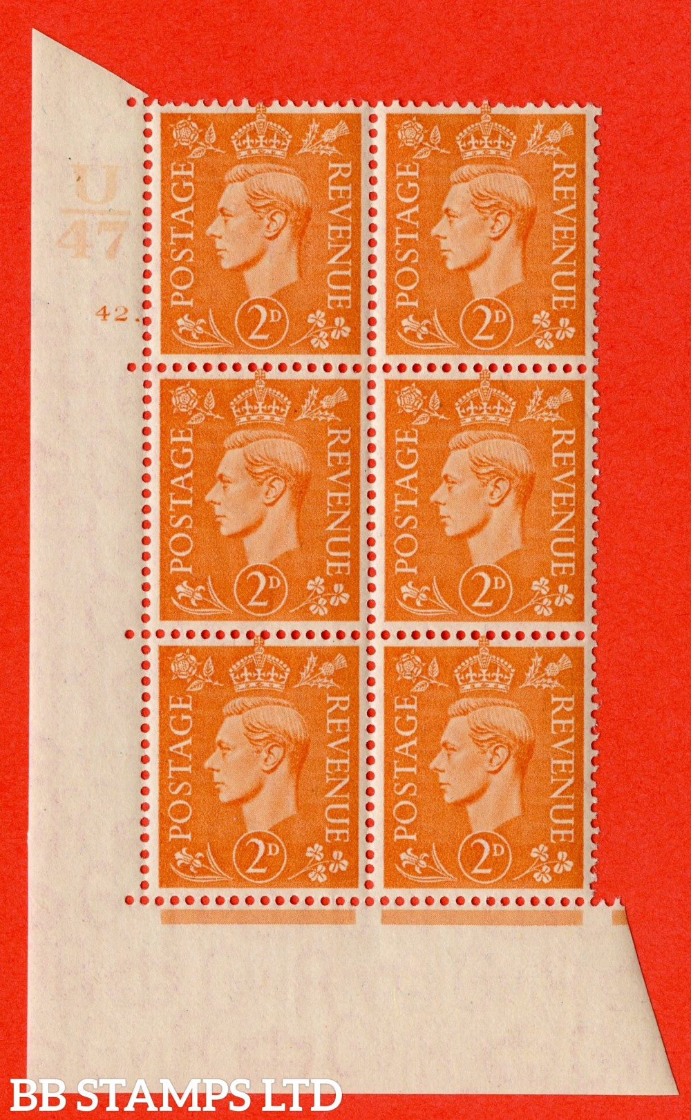 "SG. 488. Q11. 2d Pale Orange. A fine lightly mounted mint "" Control U47 cylinder 42 dot "" control block of 6 with perf type 5 E/I."