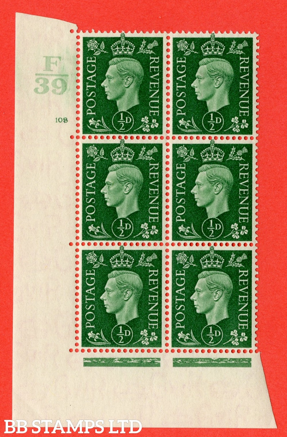 "SG. 462. Q1. ½d Green. A superb UNMOUNTED MINT "" Control F39 cylinder 108 no dot "" block of 6 with perf type 5 E/I with marginal rule."