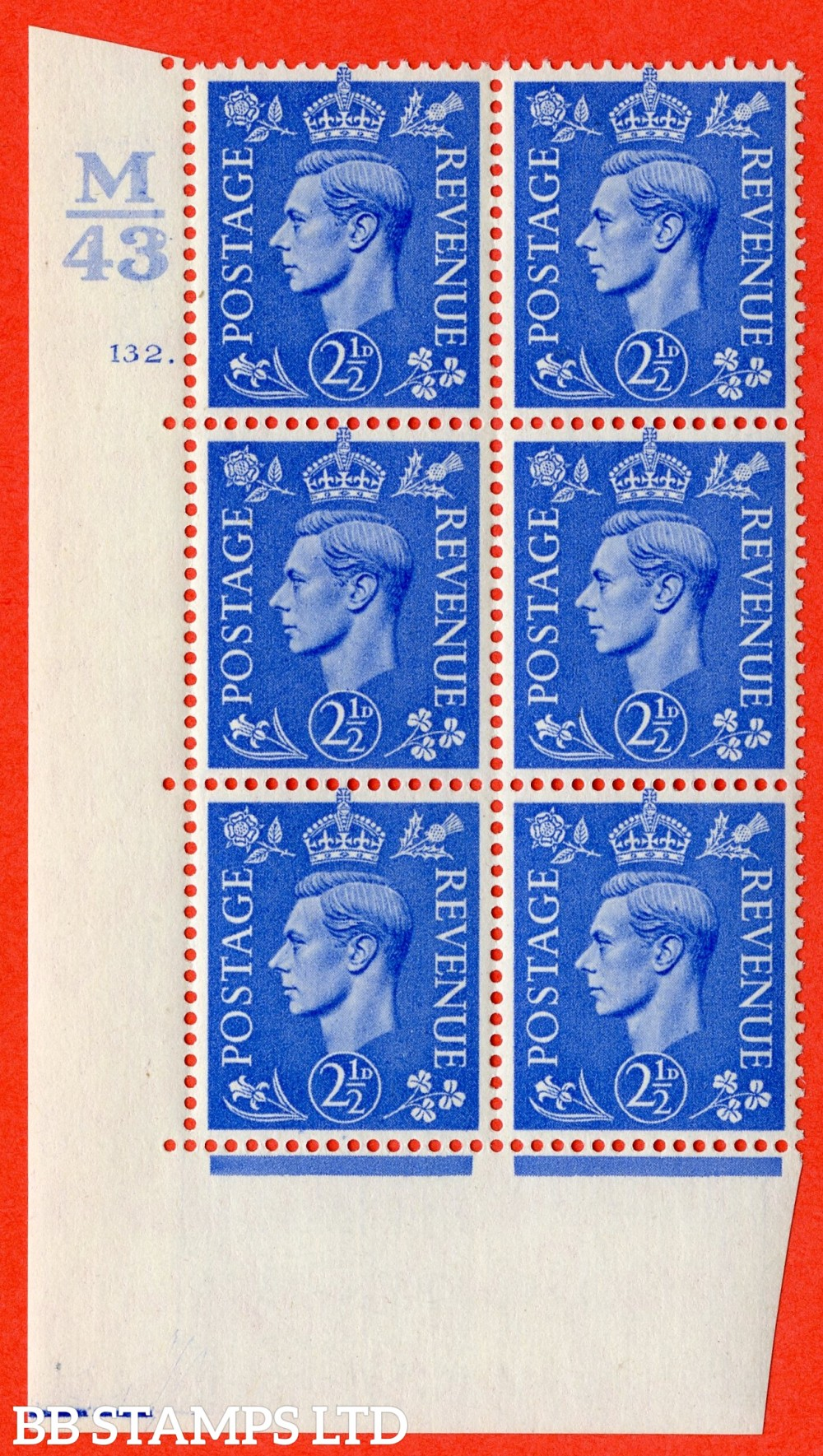 "SG. 489. Q14. 2½d Light ultramarine. A fine mounted mint "" Control M43 cylinder 132 dot "" control block of 6 with perf type 5 E/I."
