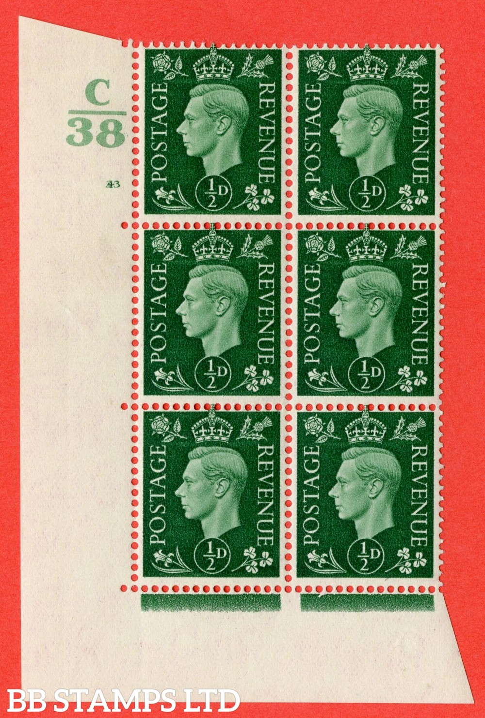 "SG. 462. Q1. ½d Green. A superb UNMOUNTED MINT "" Control C38 cylinder 43 (i) no dot "" block of 6 with perf type 5 E/I with marginal rule."