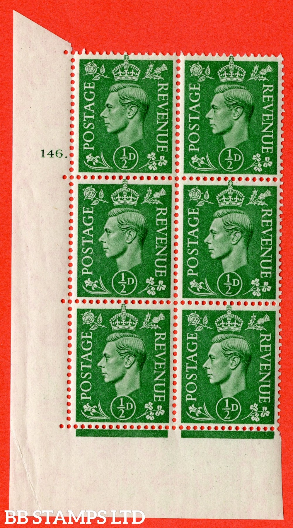 "SG. 485. Q2. ½d Pale Green. A superb UNMOUNTED MINT "" No Control cylinder 146 dot "" block of 6 with perf type 5 E/I with marginal rule."