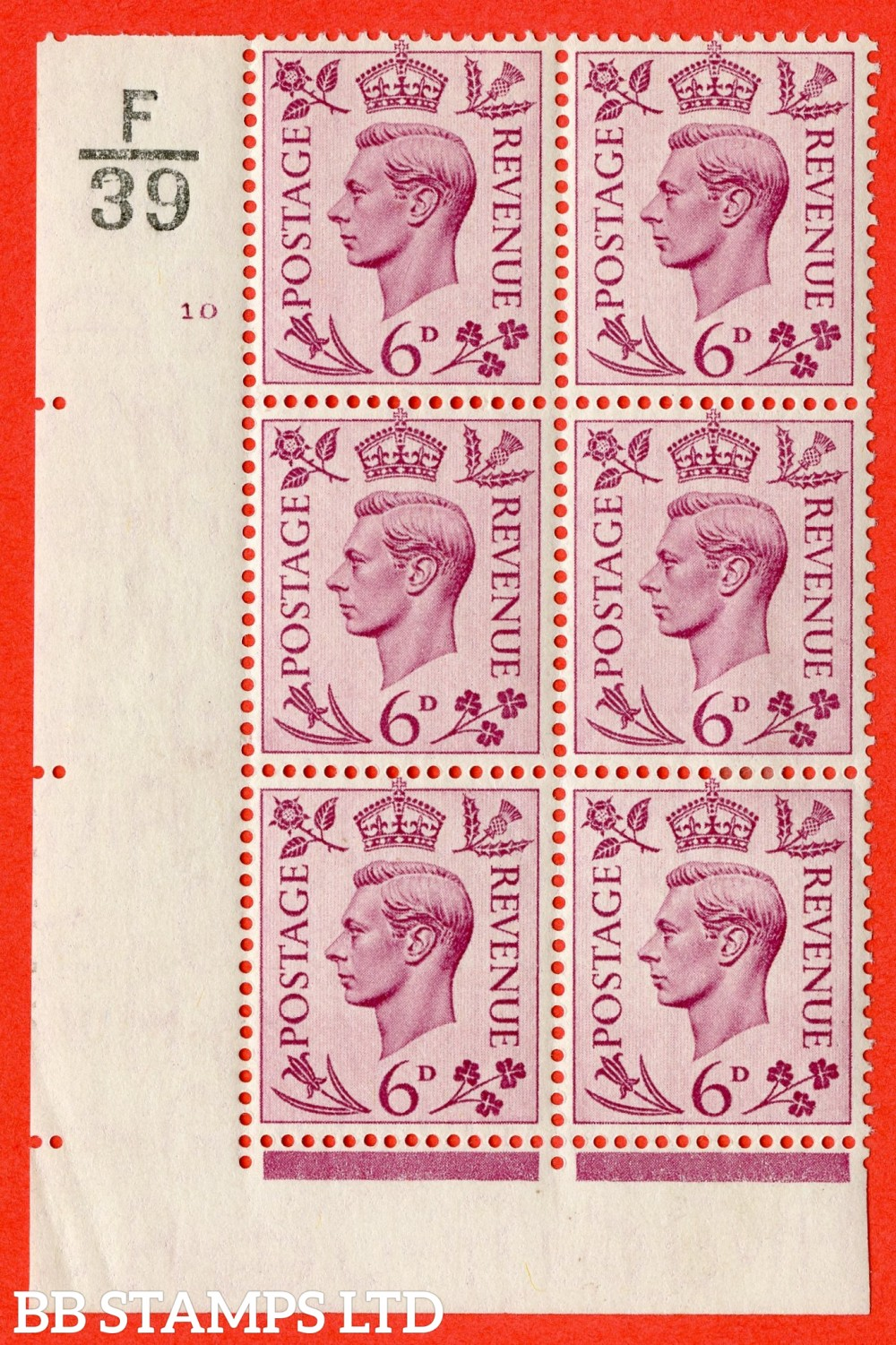 """SG. 470. Q22. 6d Purple. A fine lightly mounted mint """" Control F39 cylinder 10 no dot """" control block of 6 with perf type 2 E/I"""
