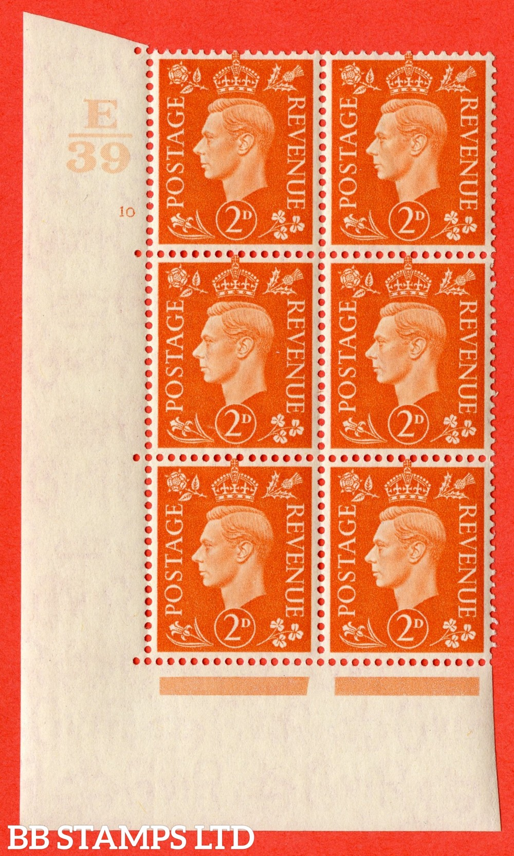 "SG. 465. Q10. 2d Orange. A superb UNMOUNTED MINT "" Control E39 cylinder 10 no dot "" control block of 6 with perf type 5 E/I."
