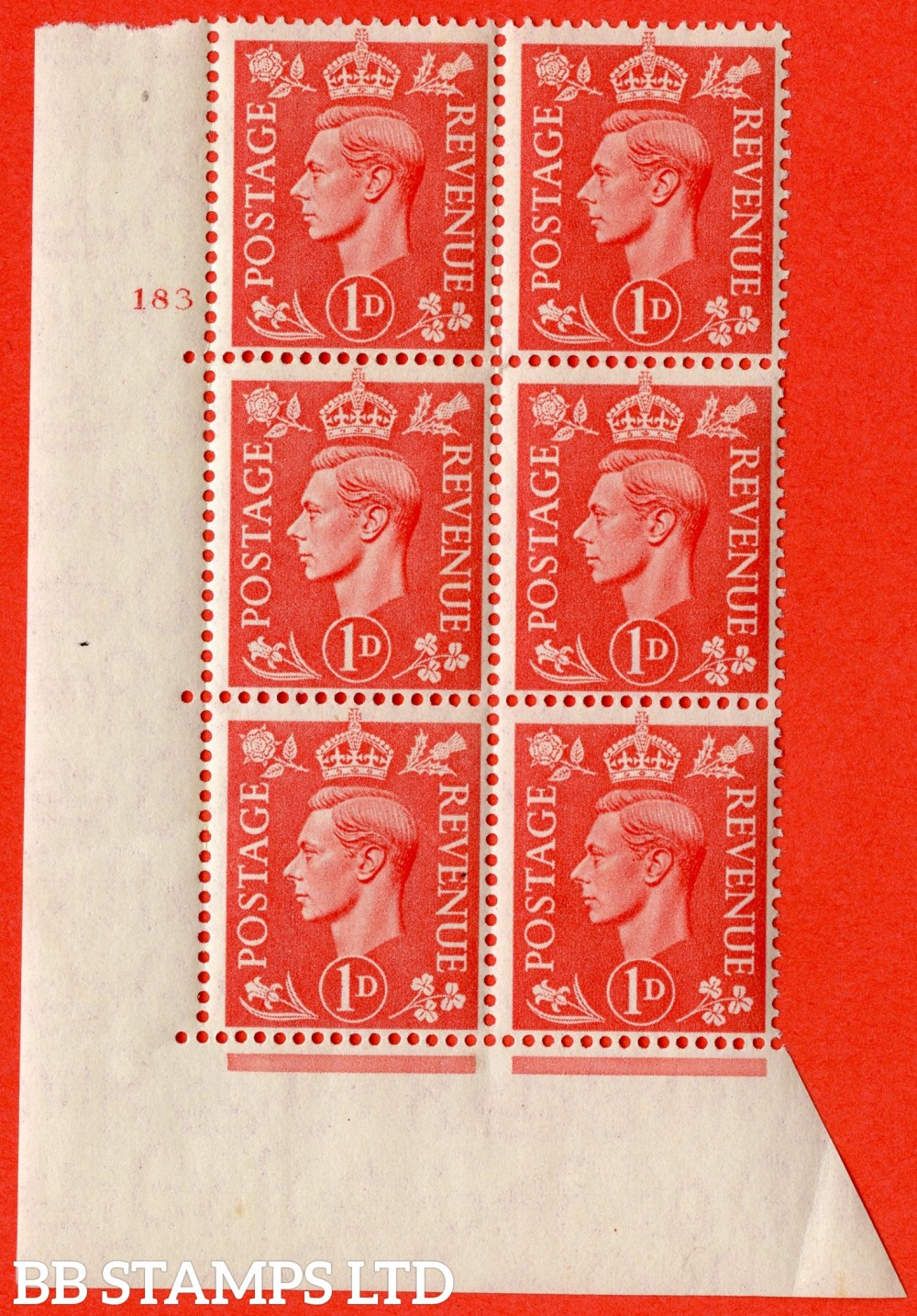 """SG. 486. Q5. 1d Pale scarlet. A fine lightly mounted mint """" No Control   cylinder 183 no dot """" control block of 6 with perf type 5 E/I."""