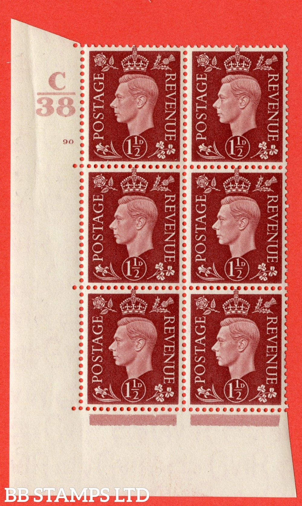 """SG. 464. Q7. 1½d Red-Brown. A superb UNMOUNTED MINT """" Control C38 cylinder 90 no dot """" block of 6 with perf type 5 E/I."""