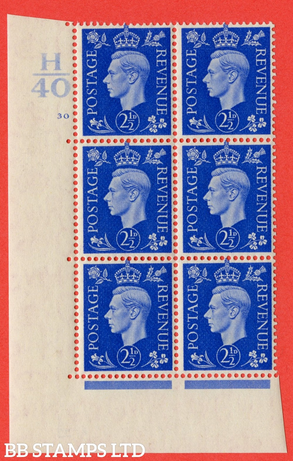 "SG. 466. Q13. 2½d Ultramarine. A superb UNMOUNTED MINT "" Control H40 cylinder 30 no dot "" control block of 6 with perf type 5 E/I."