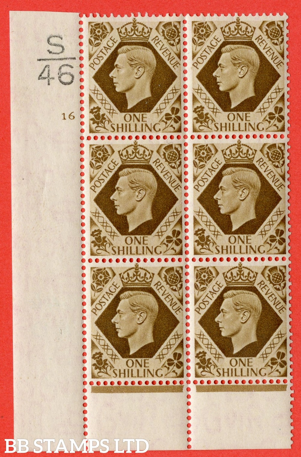 "SG. 475. Q28. 1/- Bistre-Brown. A fine lightly mounted mint "" Control  S46 cylinder 16 no dot "" control block of 6 with perf type 6 I/P"