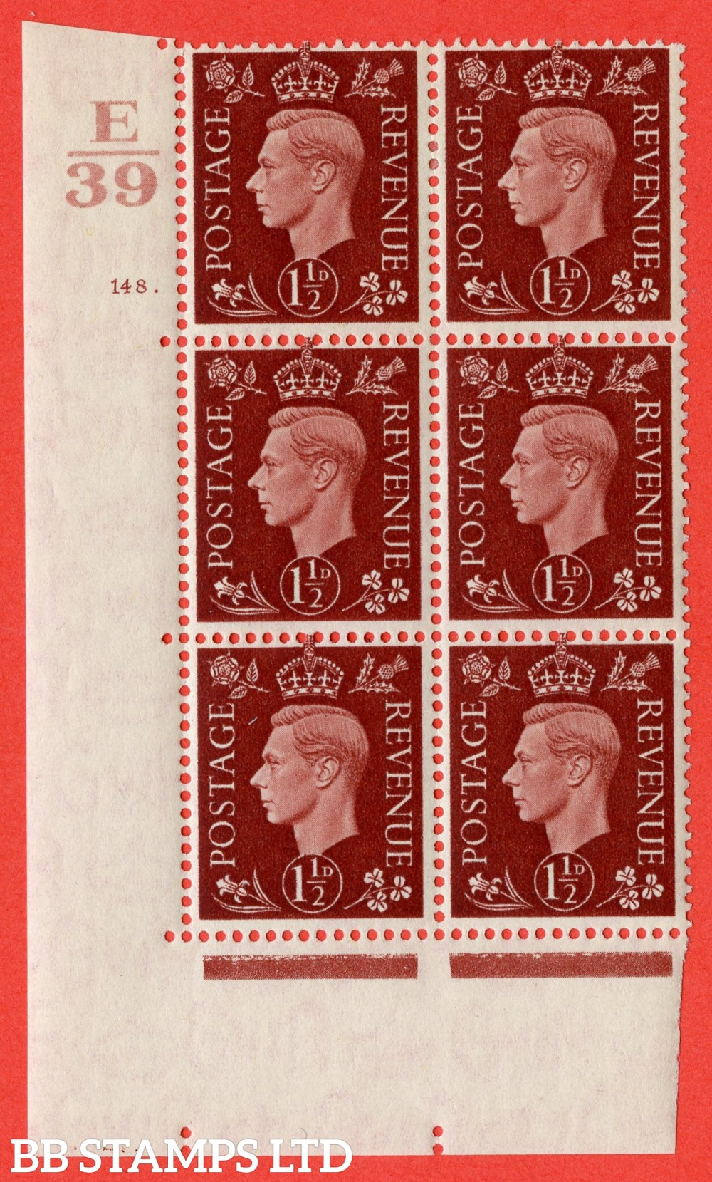"""SG. 464. Q7. 1½d Red-Brown. A fine lightly mounted mint """" Control E39 cylinder 148 dot """" block of 6 with perf type 5 E/I."""