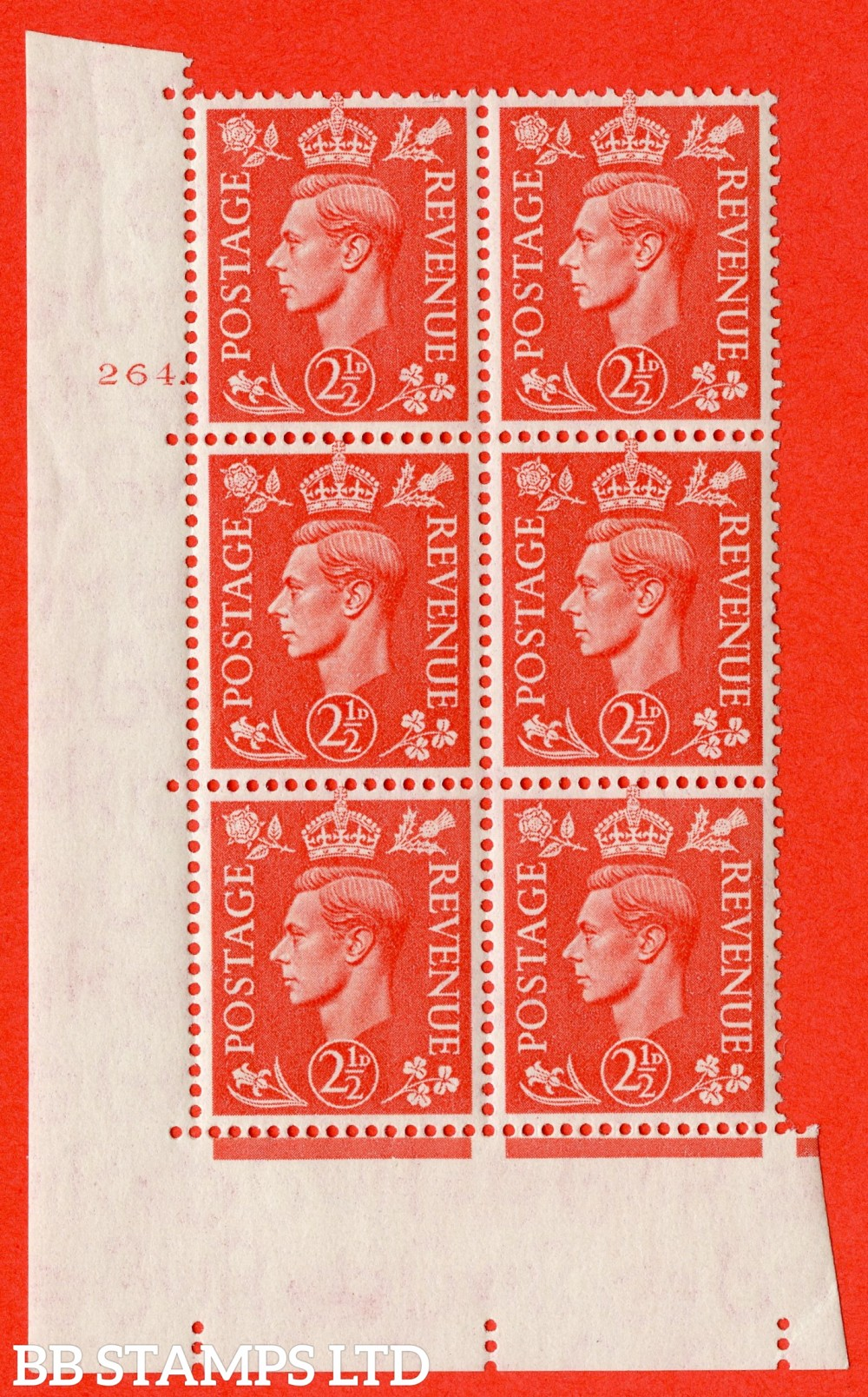 "SG. 507. Q15. 2½d Pale Scarlet. A fine lightly mounted mint "" No Control cylinder 264 dot "" control block of 6 with perf type 5 E/I."