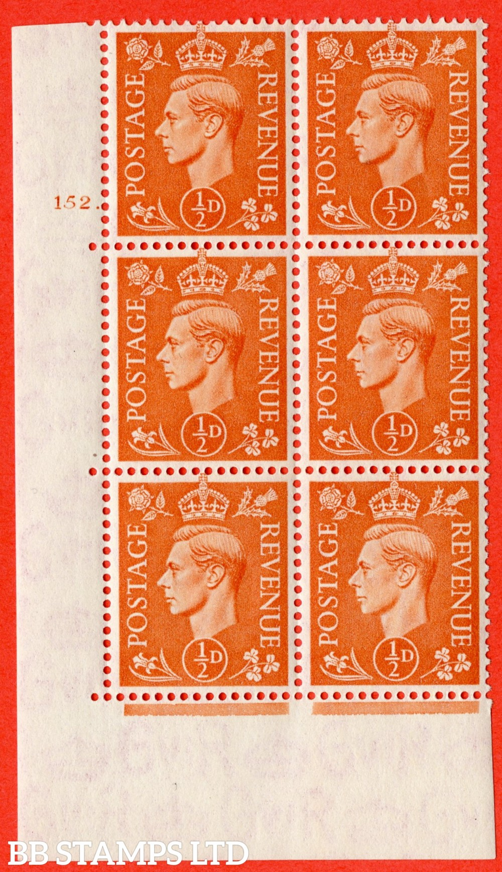 "SG. 503. Q3. ½d Pale Orange. A fine lightly mounted mint "" No Control cylinder 152 no dot "" control block of 6 with perf type 5 E/I."