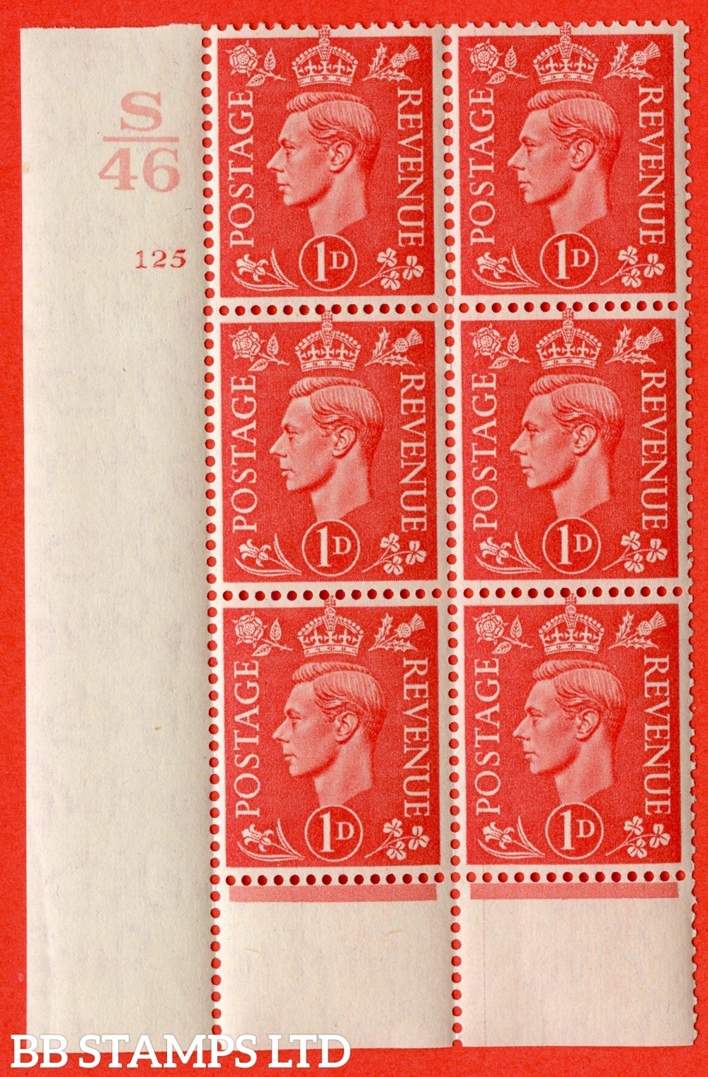 "SG. 486. Q5. 1d Pale scarlet. A superb UNMOUNTED MINT "" Control S46  cylinder 125 no dot "" control block of 6 with perf type 6 I/P."