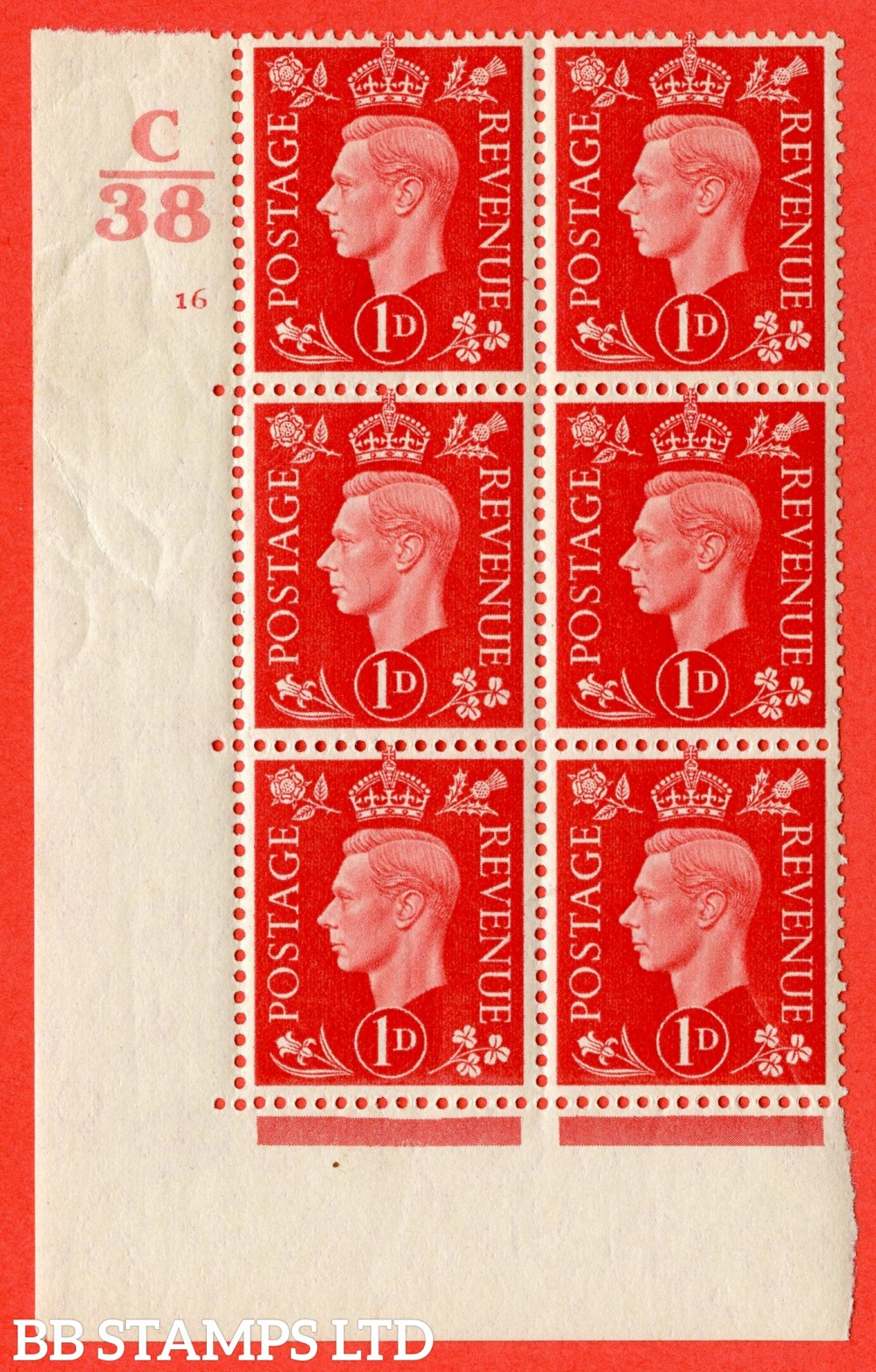 "SG. 463. Q4. 1d Scarlet. A superb UNMOUNTED MINT "" Control H40 cylinder 16 no dot "" block of 6 with perf type 5 E/I with marginal rule."