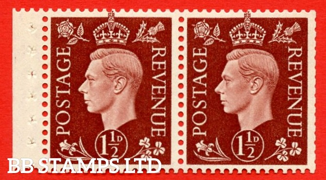 """SG. 464 d. QB22. 1½d Red - Brown. A fine MOUNTED MINT complete booklet pane. Perf type """" P """". Good Perfs."""