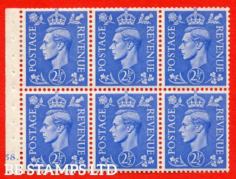 """SG. 489f. QB33. 2½d blue. A fine MOUNTED MINT complete Cylinder pane of 6 J58 dot. Perf type """"B6(IE)"""". Good Perfs."""
