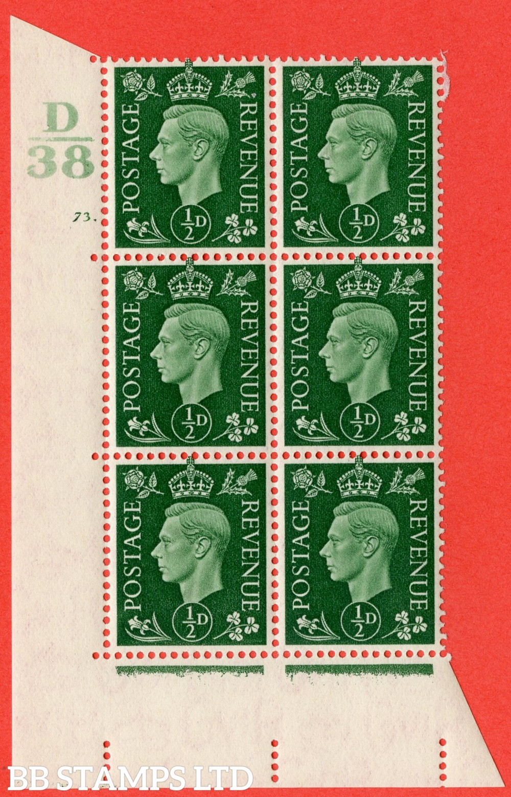 "SG. 462. Q1. ½d Green. A superb UNMOUNTED MINT "" Control D38 cylinder 73 dot "" block of 6 with perf type 5 E/I."